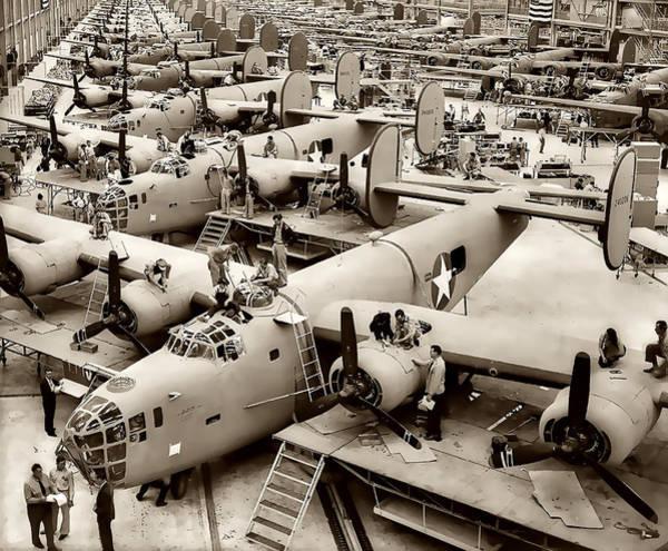 Prop Digital Art - B-24 Bomber Production 1943 by Daniel Hagerman