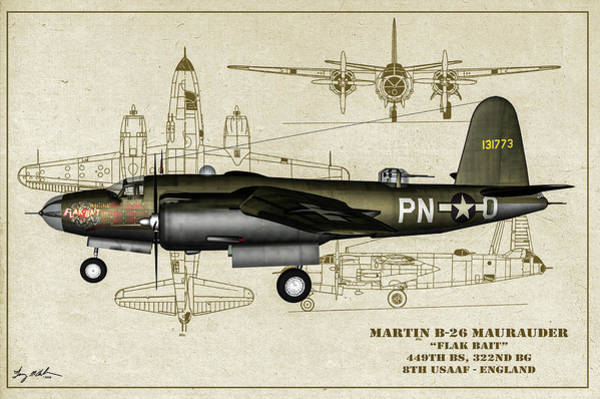 Wall Art - Photograph - B-26 Flak Bait Profile Art by Tommy Anderson