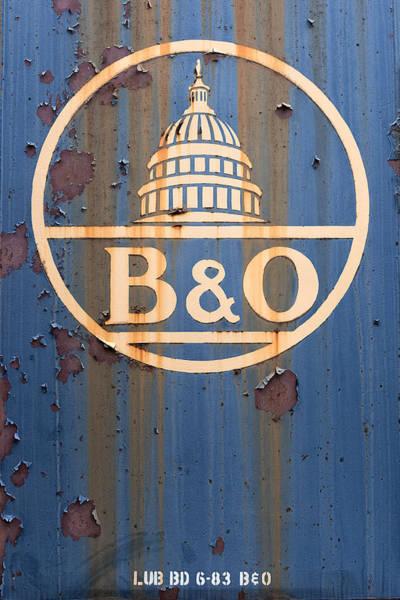 Wall Art - Photograph - B And O Railroad Rail Car Signage by Jeff Abrahamson