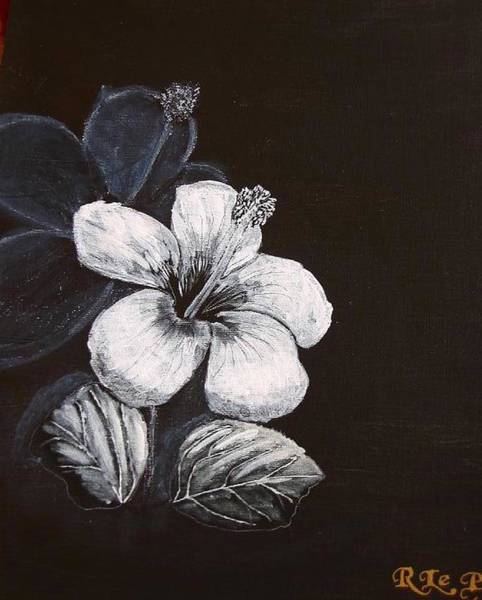 Painting - B And W Hibiscus by Richard Le Page