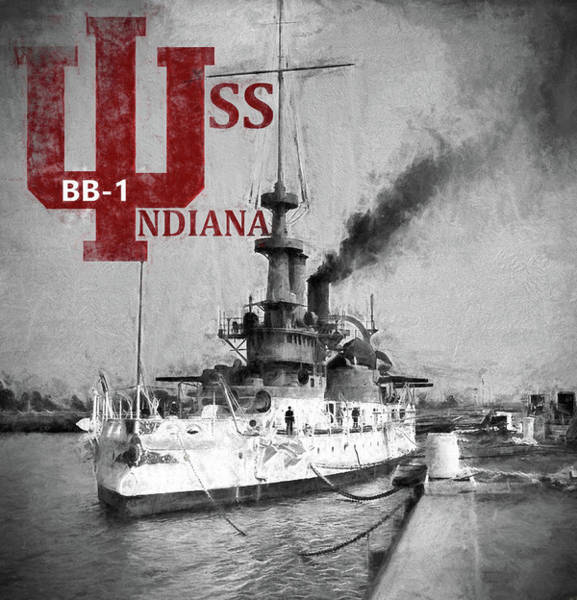 World War 1 Digital Art - B B 1 Uss Indiana by JC Findley