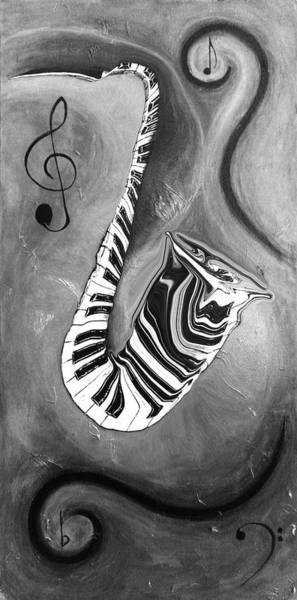 Hallway Mixed Media - Piano Keys In A Saxophone B/w - Music In Motion by Wayne Cantrell