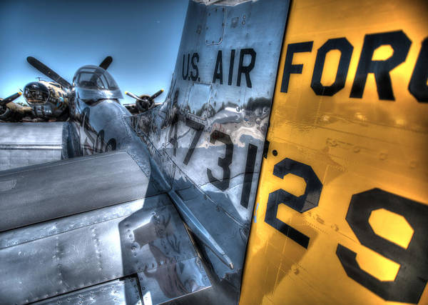 Photograph - B17 And Her P51 Mustang Escort Sit Ready by John King
