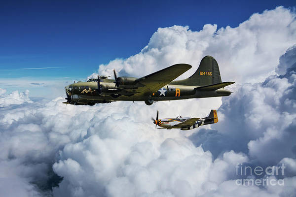 Wall Art - Digital Art - B17 Flying Fortress And P51 Mustang by J Biggadike