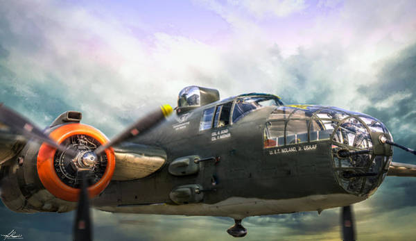Photograph - B25 Mitchell Bomber In Flight by Philip Rispin