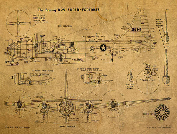 Distress Mixed Media - B29 Superfortress Military Plane World War Two Schematic Patent Drawing On Worn Distressed Canvas by Design Turnpike