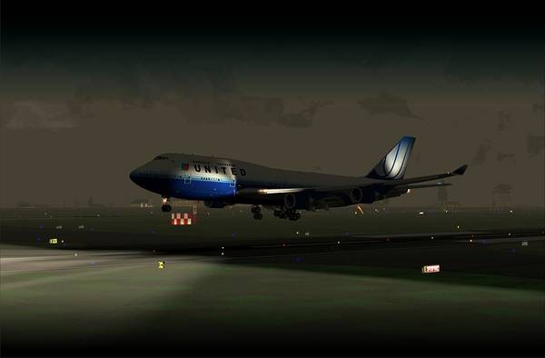 B747-400 Night Landing Art Print