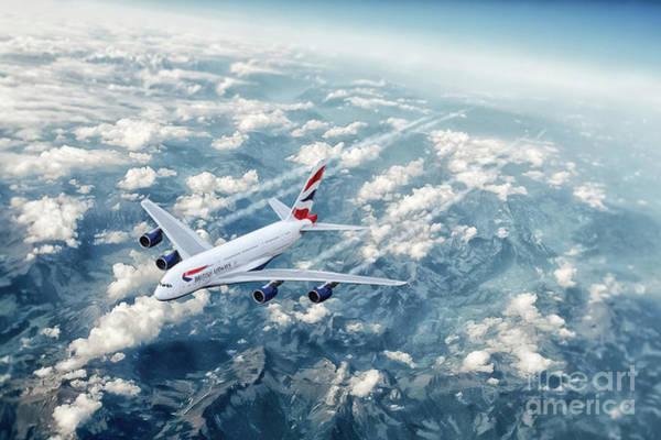 Airbus A380 Wall Art - Digital Art - Ba Airbus A380 by J Biggadike