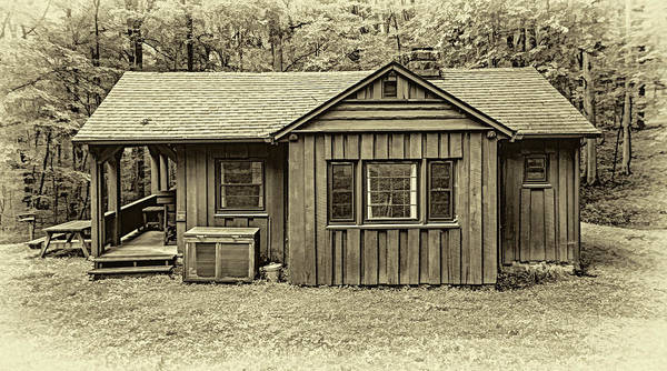 Civilian Conservation Corps Wall Art - Photograph - Babcock State Park Cabin 20 - Sepia by Steve Harrington