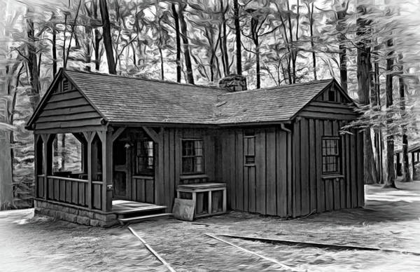 Civilian Conservation Corps Wall Art - Photograph - Babcock State Park Cabin - Paint Bw by Steve Harrington