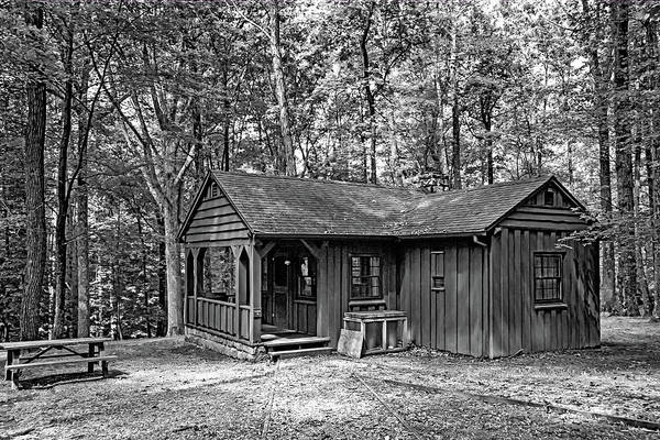 Civilian Conservation Corps Wall Art - Photograph - Babcock State Park Cabin - West Virginia Monochrome by Steve Harrington