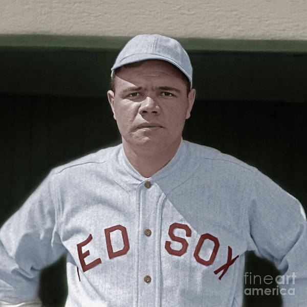 Photograph - Babe Ruth Boston Red Sox Colorized 20170622 Square by Wingsdomain Art and Photography