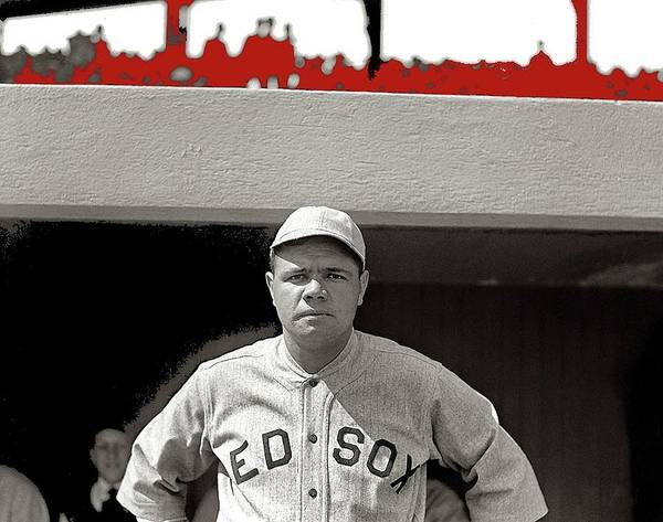 Photograph - Babe Ruth Boston Red Sox  National Photo Company 1919 Color Added 2015 by David Lee Guss