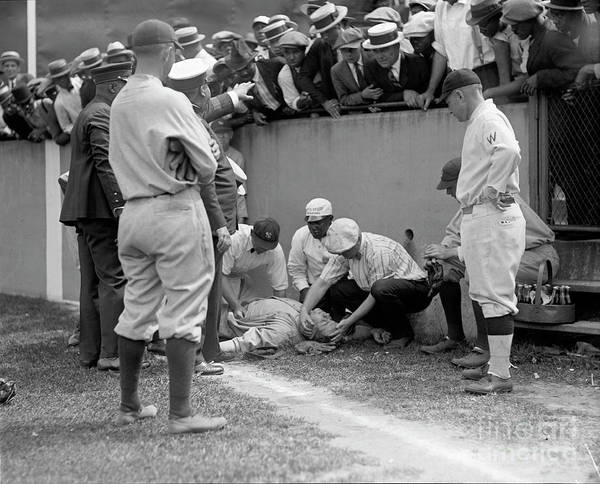 Wall Art - Photograph - Babe Ruth Knocked Out By A Wild Pitch by Jon Neidert