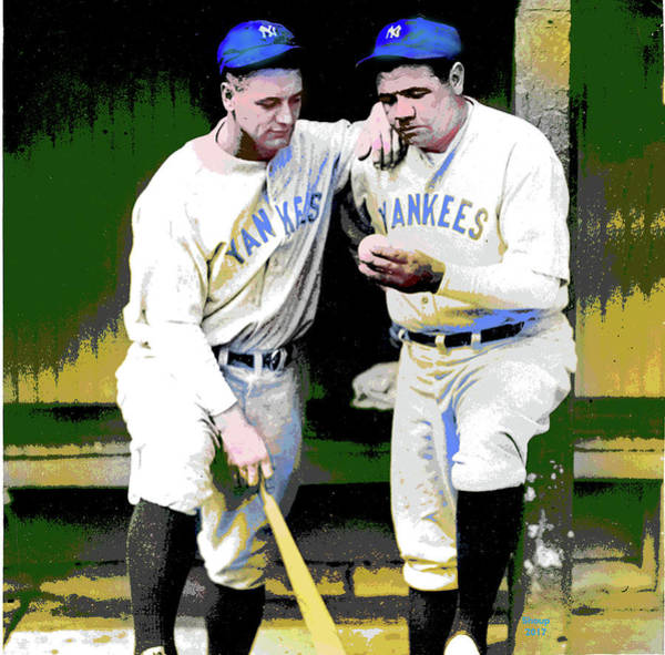 Baseball Hall Of Fame Mixed Media - Babe Ruth Lou Gehrig by Charles Shoup