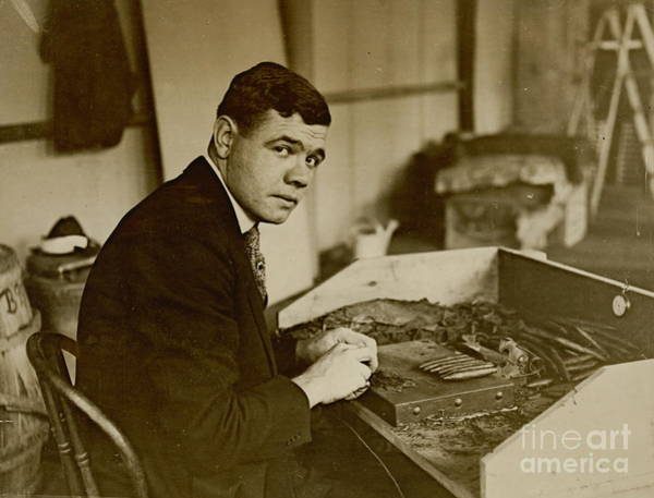 Wall Art - Photograph - Babe Ruth Rolls Cigars 1919 by Padre Art