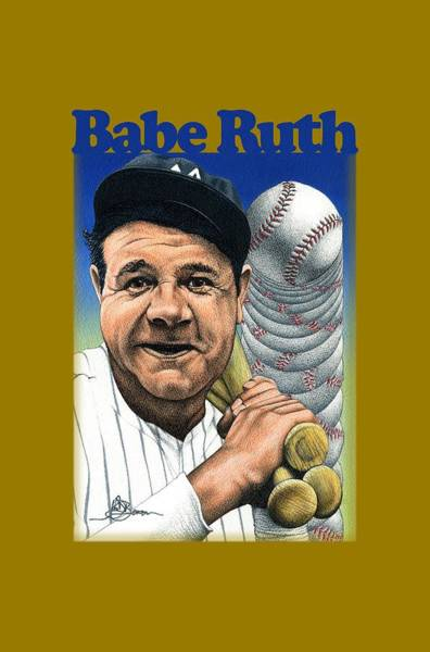 Babe Drawing - Babe Ruth Shirt by John D Benson