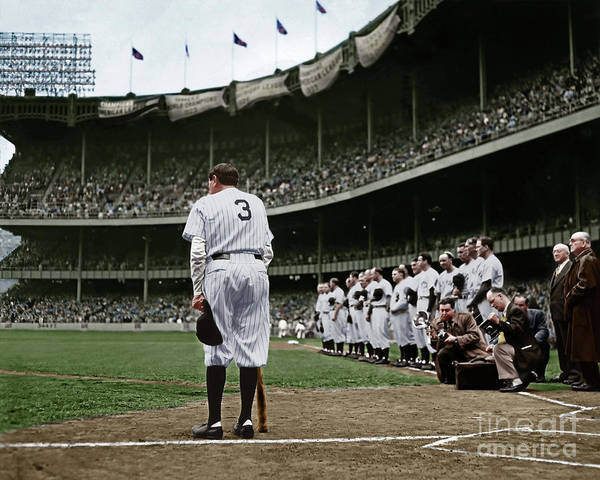 Photograph - Babe Ruth The Sultan Of Swat Retires At Yankee Stadium Colorized 20170622 by Wingsdomain Art and Photography