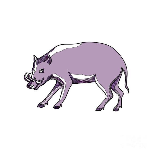 Wall Art - Digital Art - Babirusa Or Deer Pig Drawing by Aloysius Patrimonio
