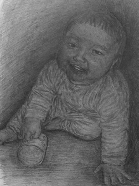 Drawing - Baby And Mug by Sami Tiainen
