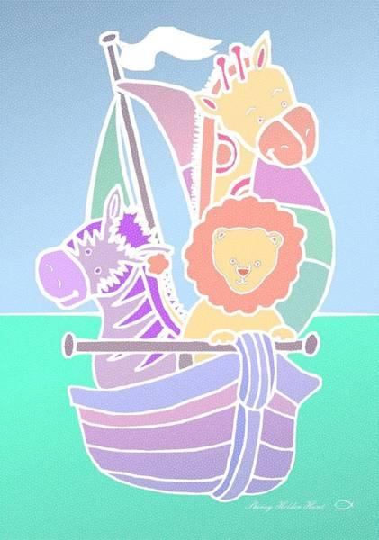 Sailboat Mixed Media - Baby Animal Voyage by Sherry Holder Hunt