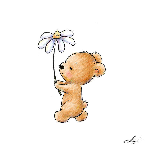 Valentine Digital Art - Baby Bear With Flower by Anna Abramska