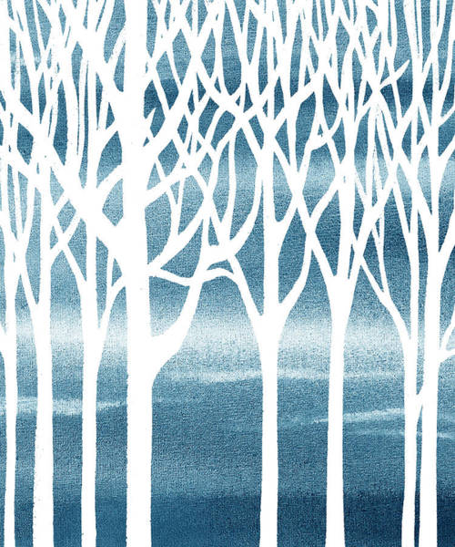 Into The Woods Wall Art - Painting - Baby Boy Room Blue Forest by Irina Sztukowski