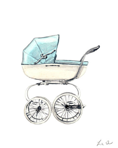 Baby Boy Painting - Baby Carriage In Blue - Vintage Pram English by Laura Row