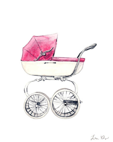 Wall Art - Painting - Baby Carriage In Pink - Vintage Pram English by Laura Row