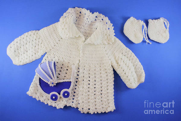 Little Things Photograph - Baby Clothes. Baby Shower Concept In Flat Lay by Daniel Ghioldi