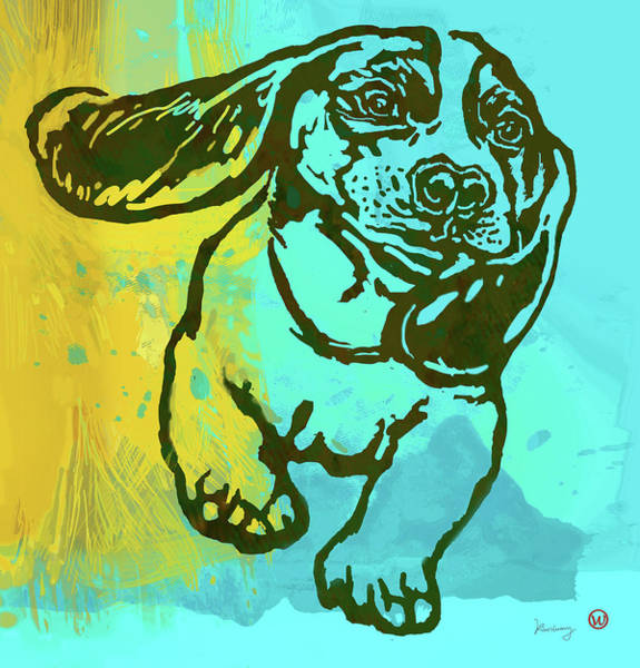 Wall Art - Mixed Media - Baby - Dog Pop Art Poster by Kim Wang