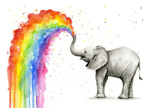 Wall Art - Painting - Baby Elephant Spraying Rainbow by Olga Shvartsur