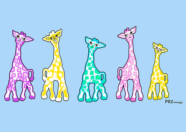 Drawing - Baby Giraffes In A Row Pastels by Rachel Lowry