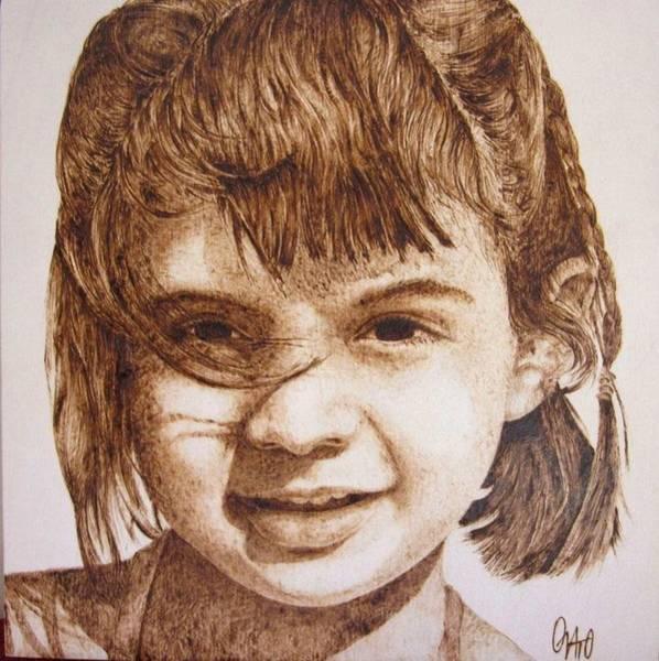 Pirografia Wall Art - Pyrography - Baby Girl by Andrea Cuvato