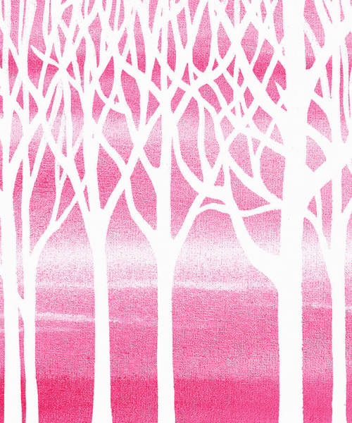 Into The Woods Wall Art - Painting - Baby Girl Room Pink Forest by Irina Sztukowski