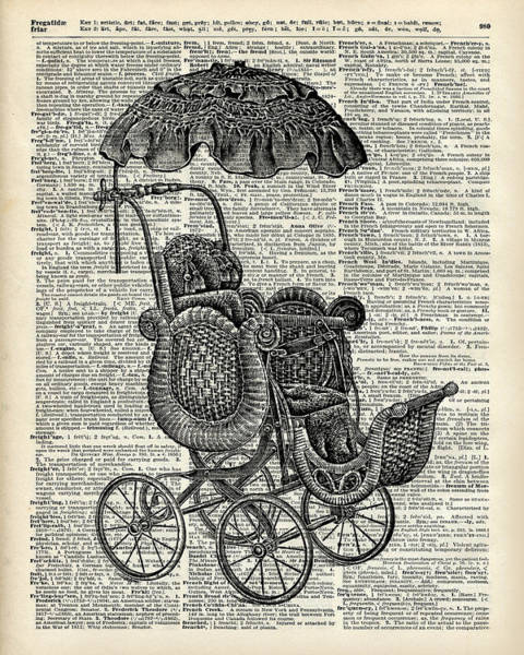 Pregnancy Painting - Baby Pram Over A Vintage Dictionary Page by Anna W