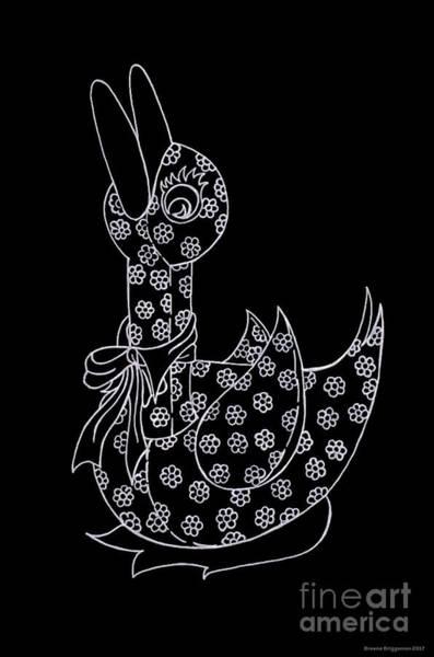 White Goose Drawing - Baby Goose by Breena Briggeman
