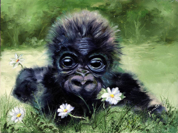 Baby Gorilla Painting - Baby Gorilla With Daisies by Jeanette Fowler