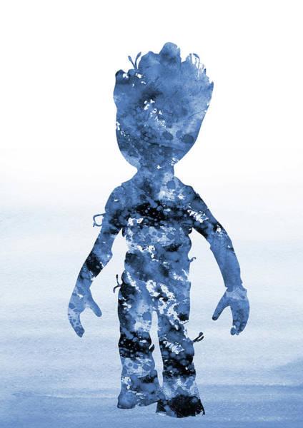 Wall Art - Digital Art - Baby Groot-blue 2 by Erzebet S