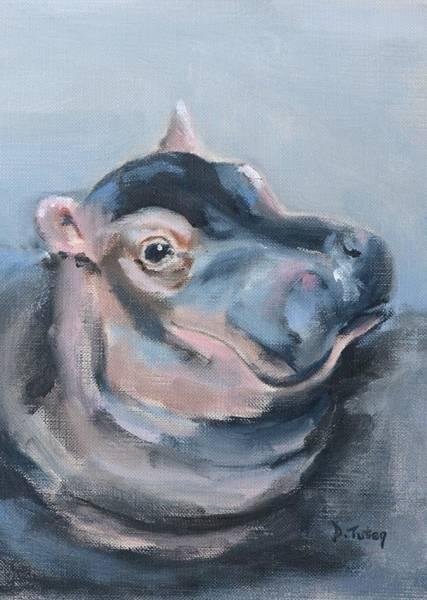 Painting - Baby Hippo Safari Animal Painting by Donna Tuten