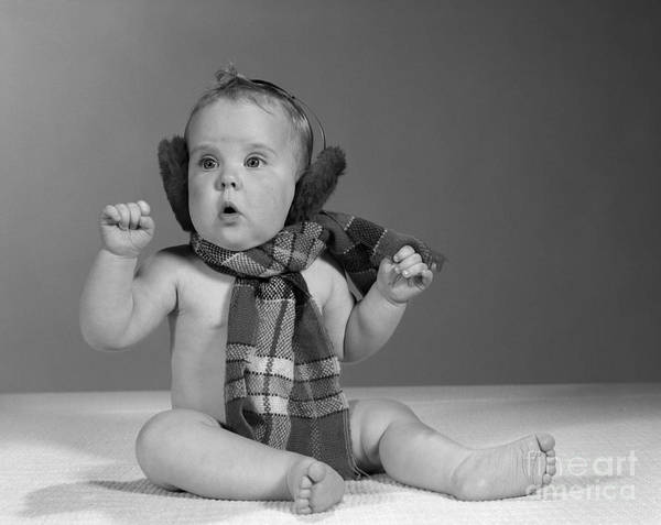 Photograph - Baby In Scarf And Earmuffs, C.1960s by H Armstrong Roberts and ClassicStock