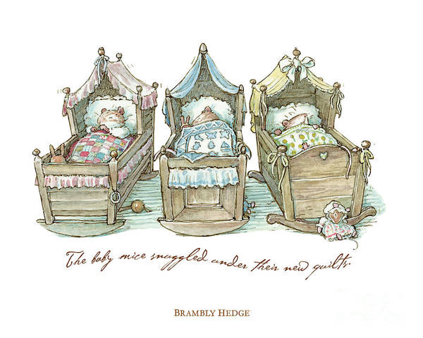 Wall Art - Drawing - The Brambly Hedge Baby Mice Snuggle In Their Cots by Brambly Hedge