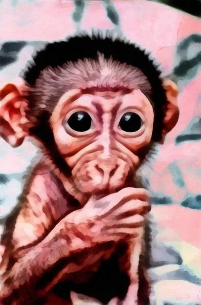 Baby Monkey Realistic Art Print