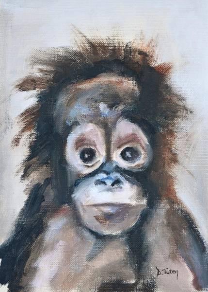 Painting - Baby Orangutan Safari Animal Painting by Donna Tuten