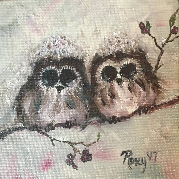 Animal Painting - Baby Owls In The Snow by Roxy Rich