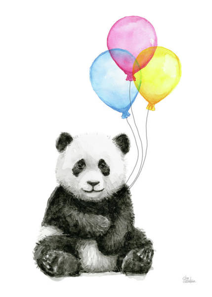 Baby Painting - Baby Panda Watercolor With Balloons by Olga Shvartsur