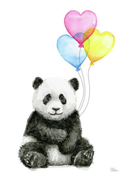 Wall Art - Painting - Baby Panda With Heart-shaped Balloons by Olga Shvartsur