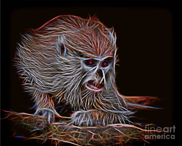 Weeds Drawing - Baby Patas Monkey On Guard Glow Version by Jim Fitzpatrick