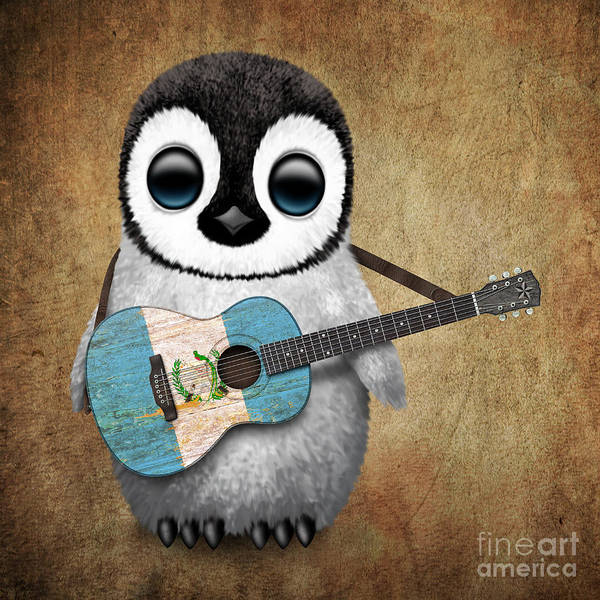 Flag Of Guatemala Digital Art - Baby Penguin Playing Guatemalan Flag Guitar by Jeff Bartels