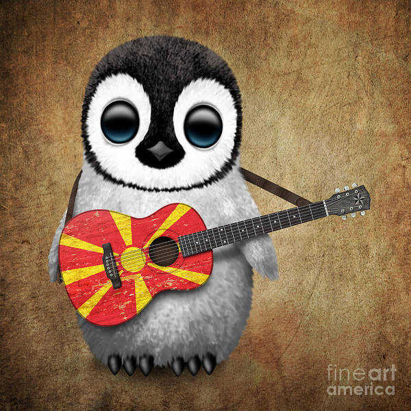 Macedonia Digital Art - Baby Penguin Playing Macedonian Flag Guitar by Jeff Bartels